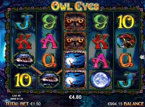 Выигрышная комбинация в Owl Eyes